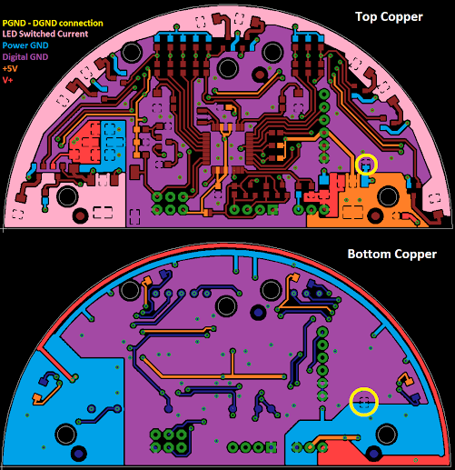 Protractor PCB Top and Bottom Copper Layers