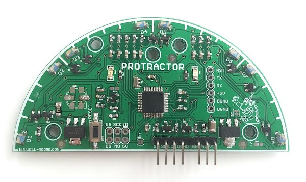 Protractor PCBA with Components Populated