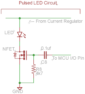 Protractor Pulsed LED Circuit with N-MOSFET and RC Safety Circuit